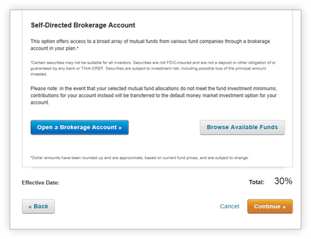 View of the option to open a self-directed brokerage account.