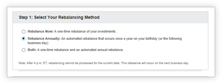 View of choices for selecting a method of rebalancing