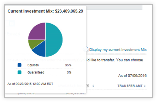 View of the investment mix pie chart feature